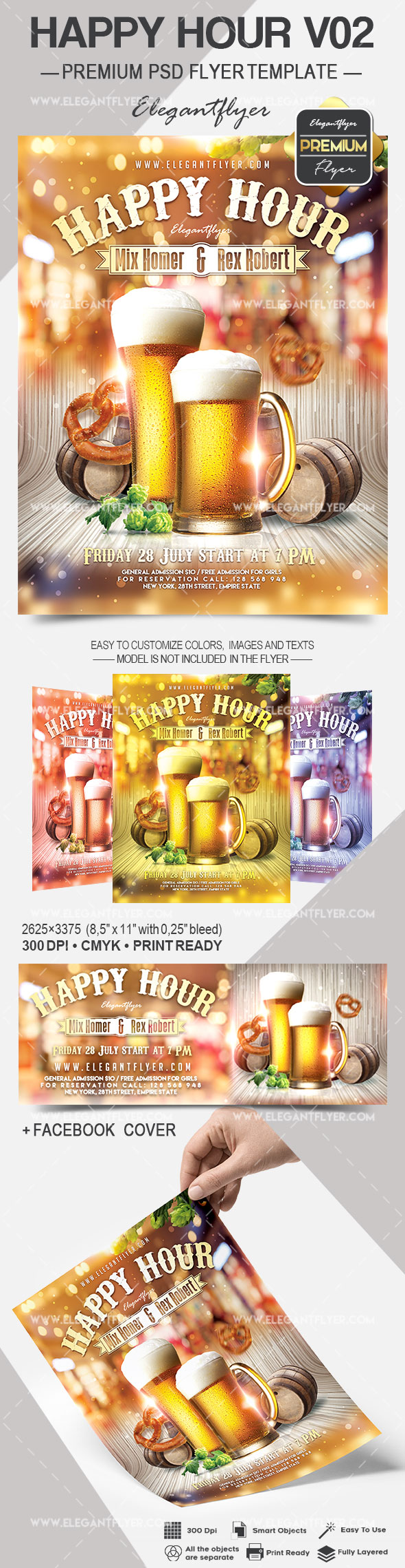 Happy Hour V02 – Flyer PSD Template + Facebook Cover