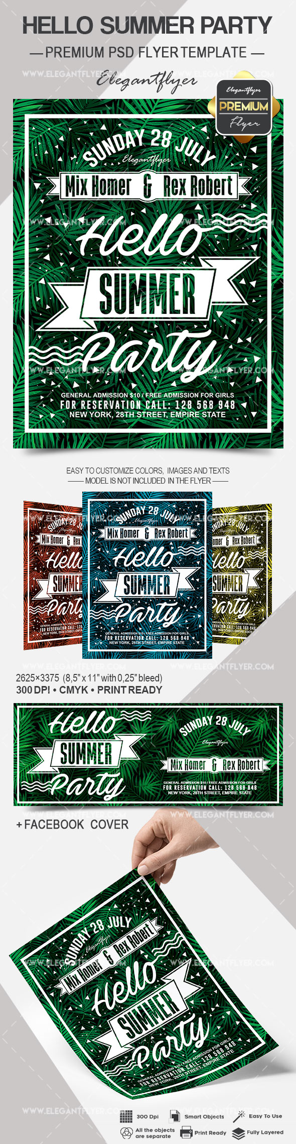 Hello Summer Party – Flyer PSD Template + Facebook Cover