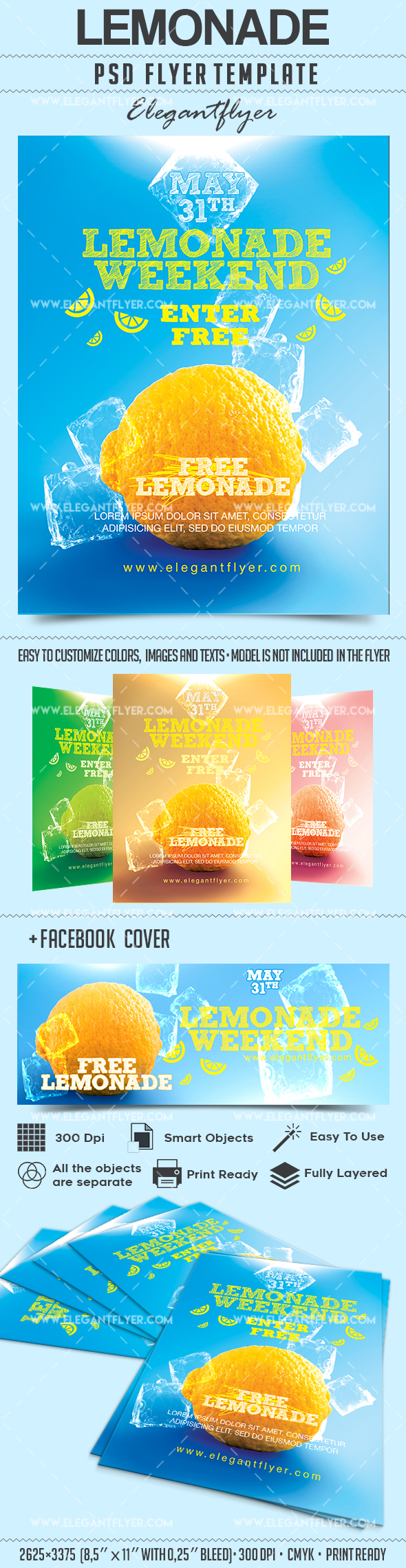 Lemonade Weekend – Flyer PSD Template + Facebook Cover
