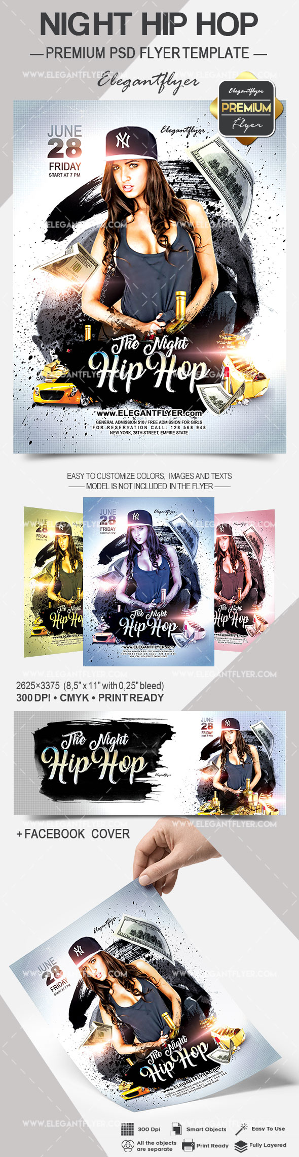 Night Hip Hop – Flyer PSD Template + Facebook Cover