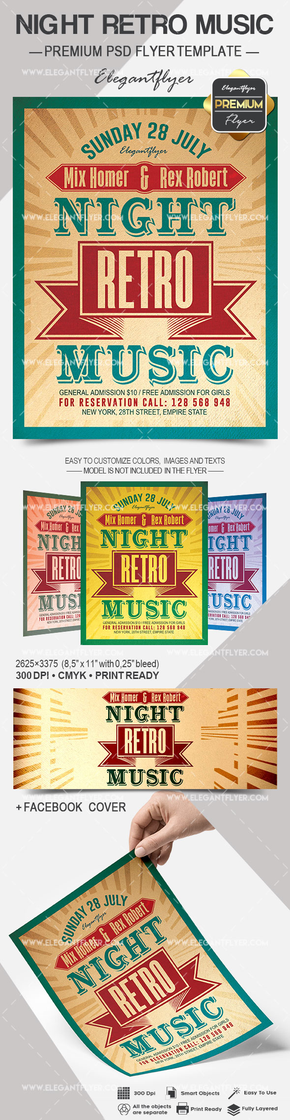 Night Retro Music – Flyer PSD Template