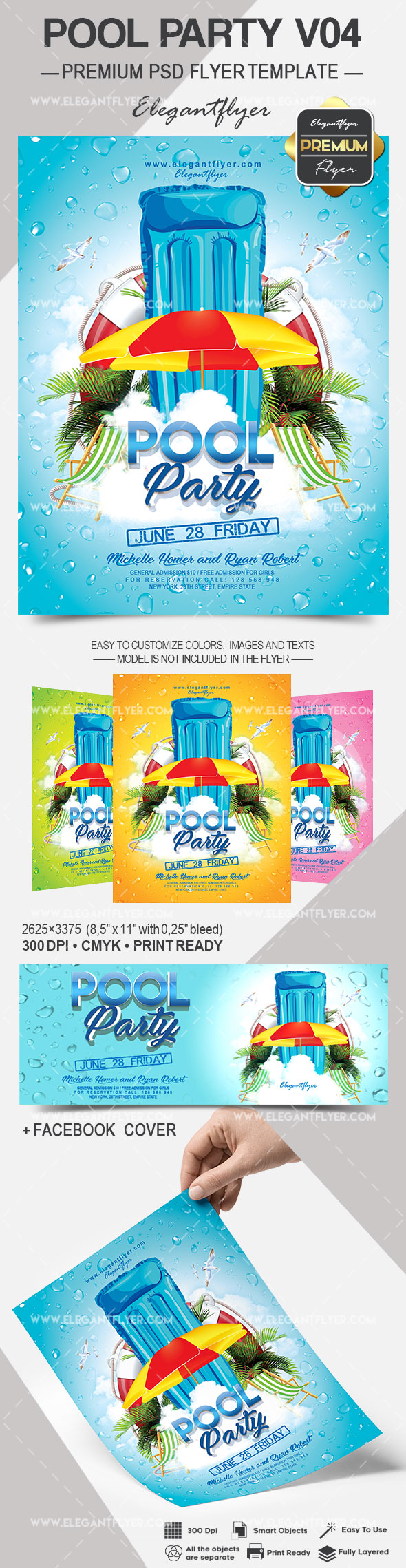 Pool Party V04 – Flyer PSD Template + Facebook Cover