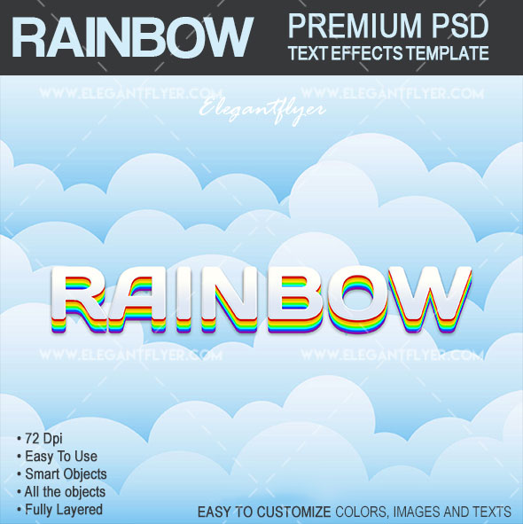 Rainbow – Text Effects PSD Template