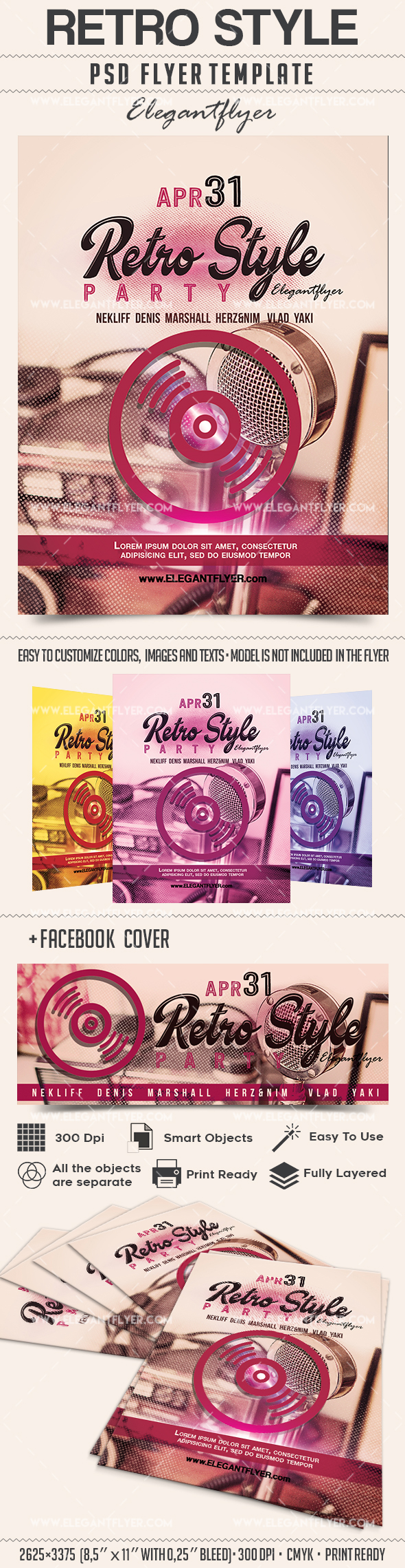 Retro style  – Flyer PSD Template