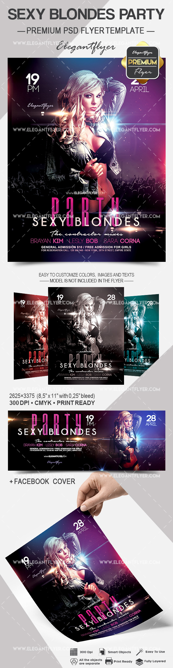 Sexy Blondes Party – Flyer PSD Template + Facebook Cover