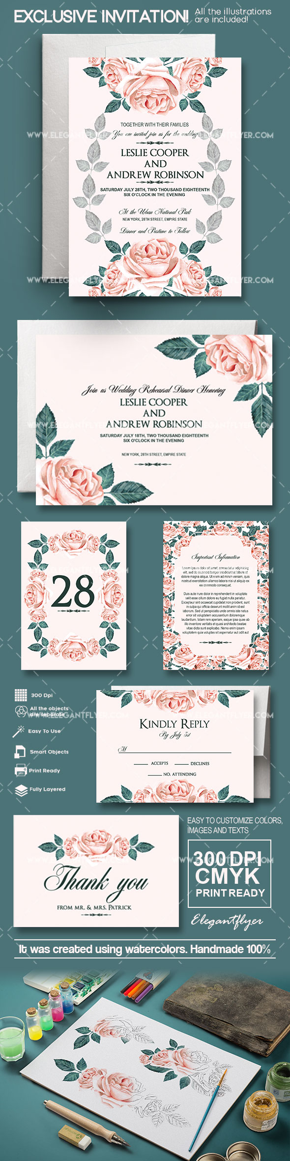 Wedding – Invitation PSD Template