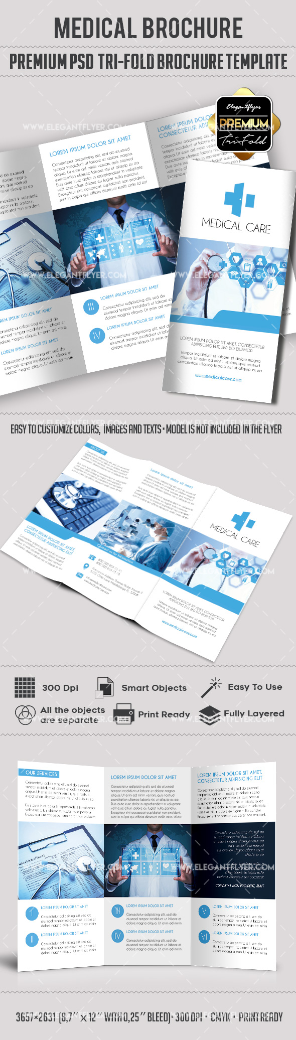 Brochure for immediate medical care by elegantflyer for 2 fold brochure template psd