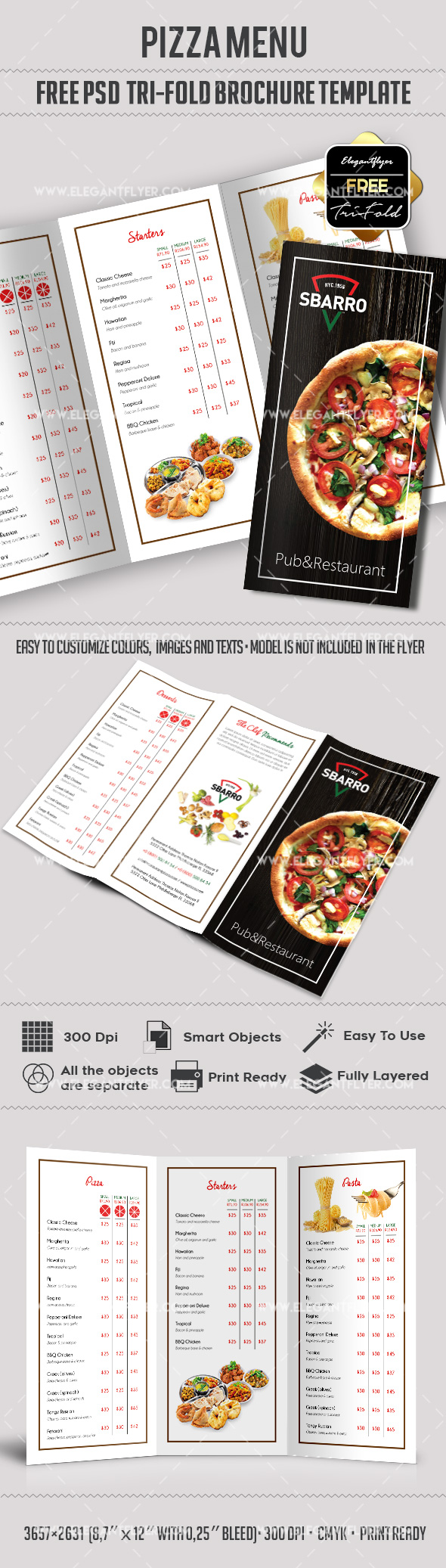 Pizza Free TriFold PSD Brochure Template Food Menu By - Menu brochure template free