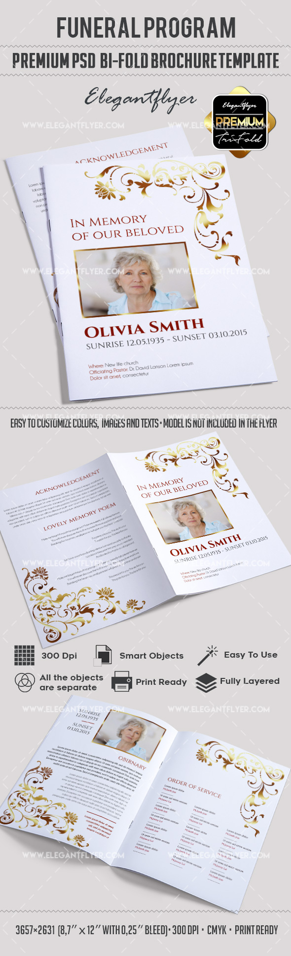 Brochure for funeral program template by elegantflyer for Program brochure templates