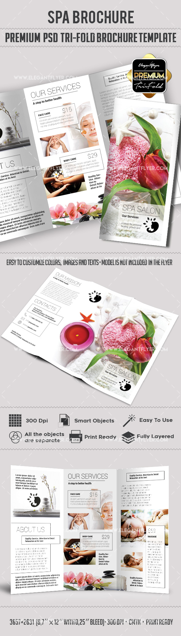 two fold brochure template psd - tri fold brochure for spa salon template by elegantflyer