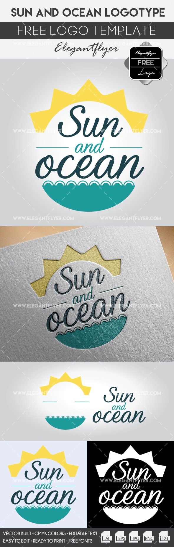 Sun and Ocean – Free Logo Template