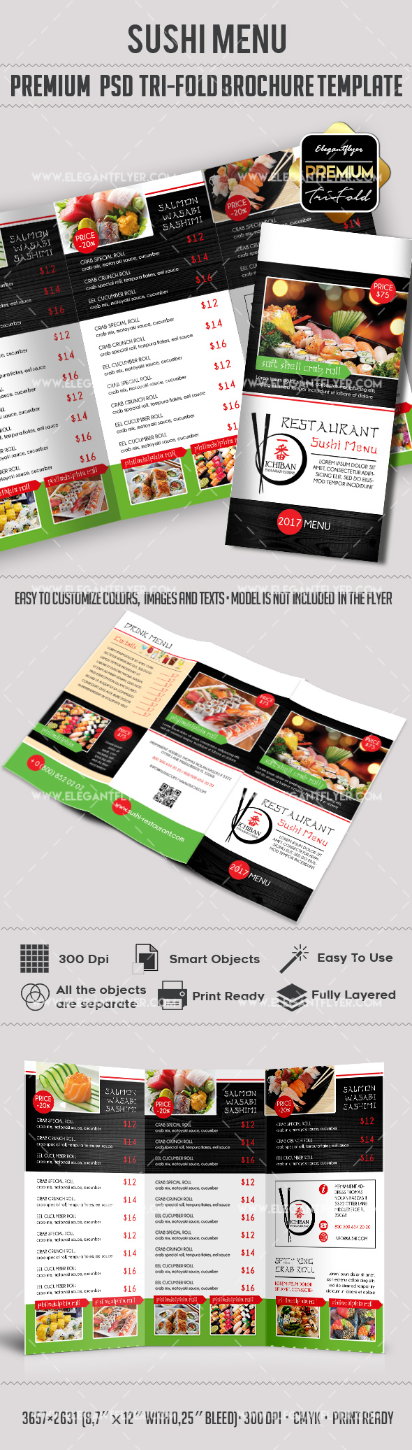 Tri-Fold PSD Brochure for Sushi Menu