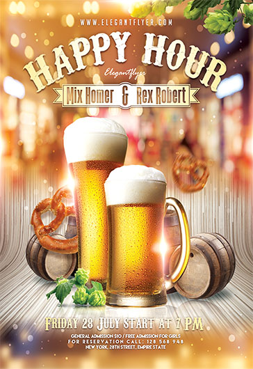 Happy Hour V02 Flyer PSD Template By ElegantFlyer