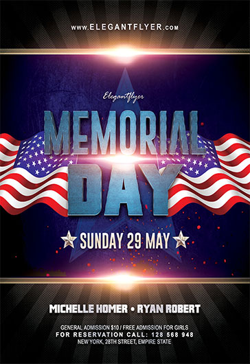 Memorial Day – Flyer Psd Template + Facebook Cover – By Elegantflyer