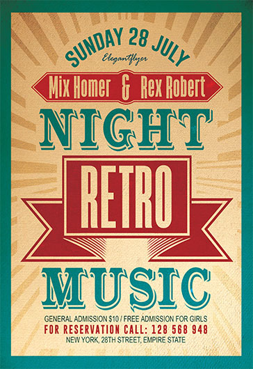 Night Retro Music – Flyer Psd Template + Facebook Cover – By