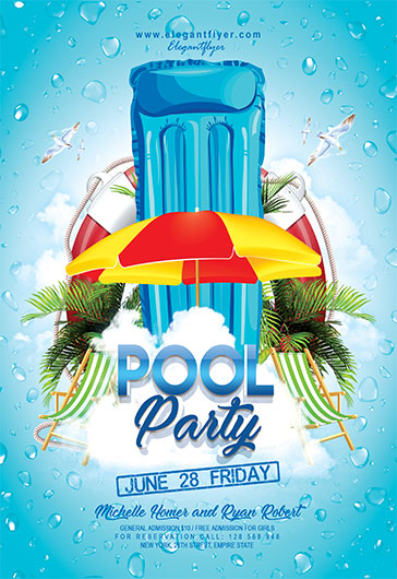 Wonderful Summer Pool Party U2013 Free Club And Party Free Flyer PSD Template U2013 By  ElegantFlyer