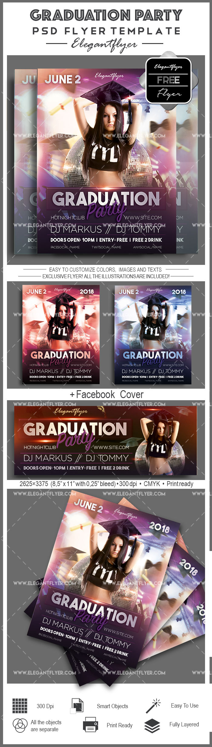 graduation party  u2013 free flyer psd template  u2013 by elegantflyer