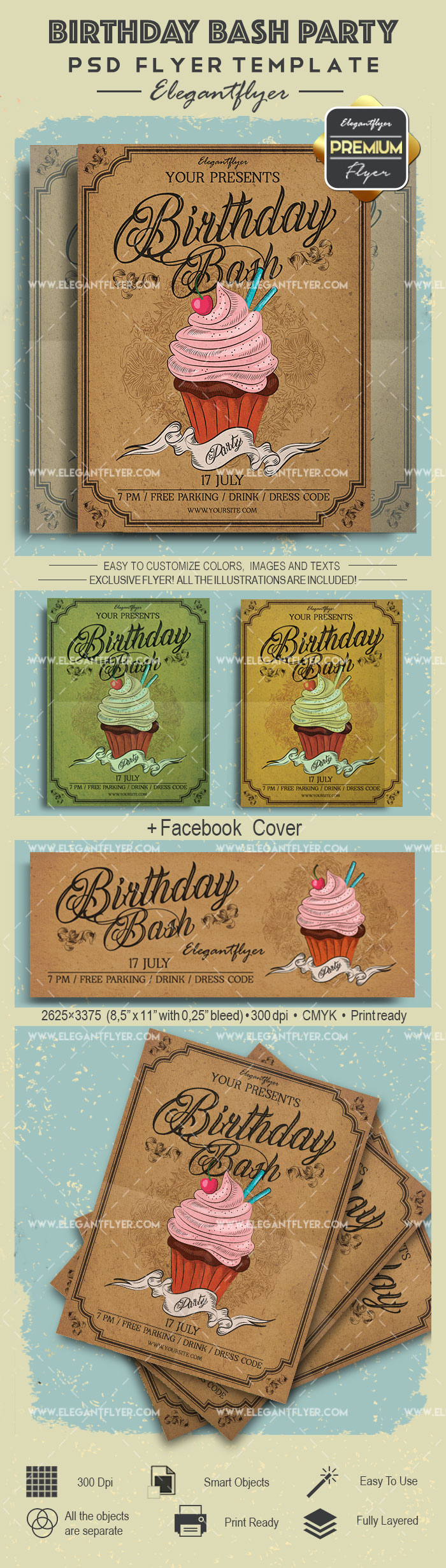 Birthday Bash Party- Flyer PSD Template