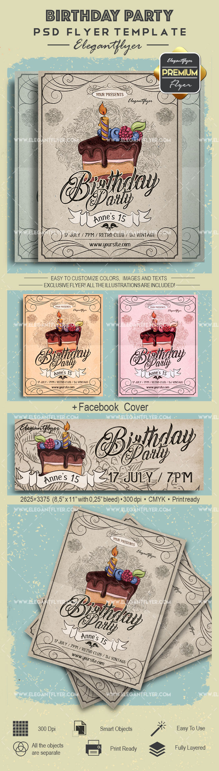 Flyer for Cake Baking Birthday Party
