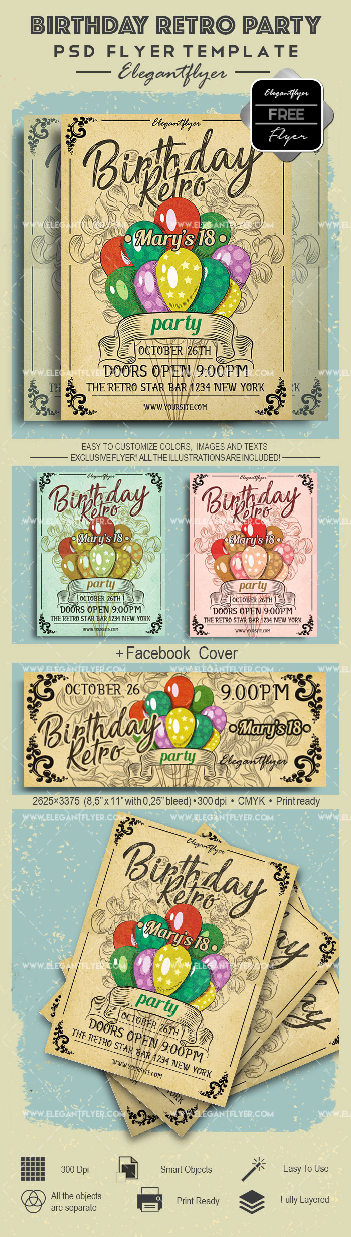 Birthday Retro Party- Free Flyer PSD Template