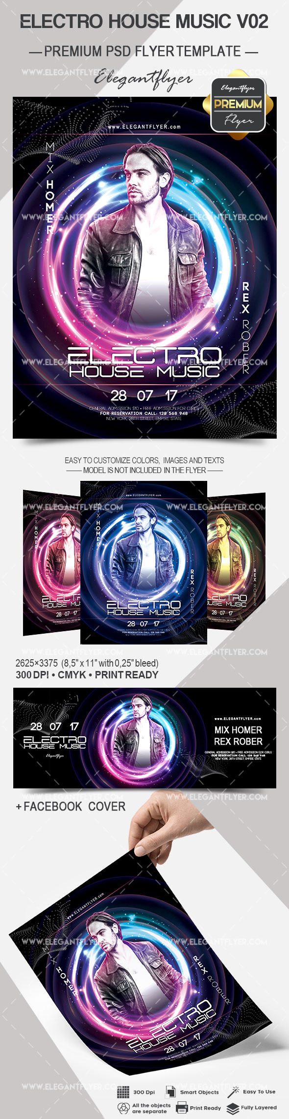 Electro House Music V02 – Flyer PSD Template