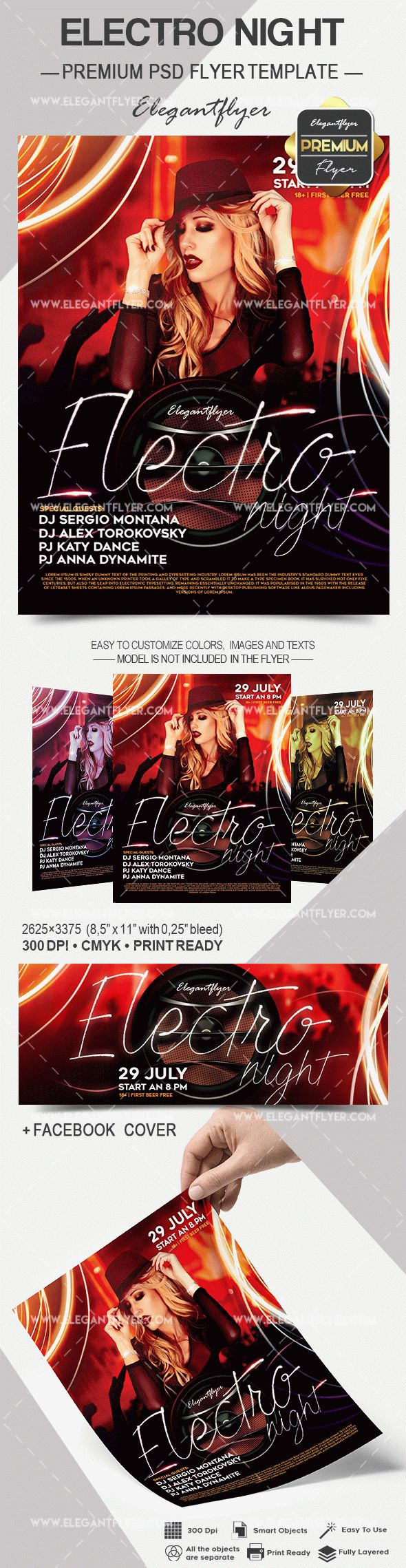 Electro Night PSD Template