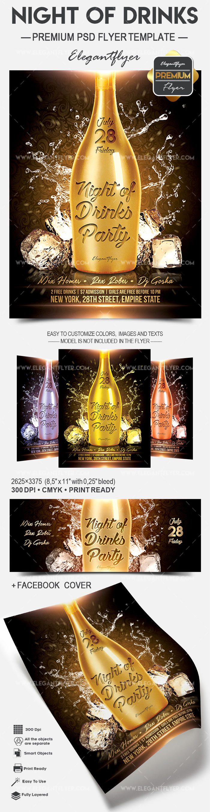 Night of Drinks – Flyer PSD Template