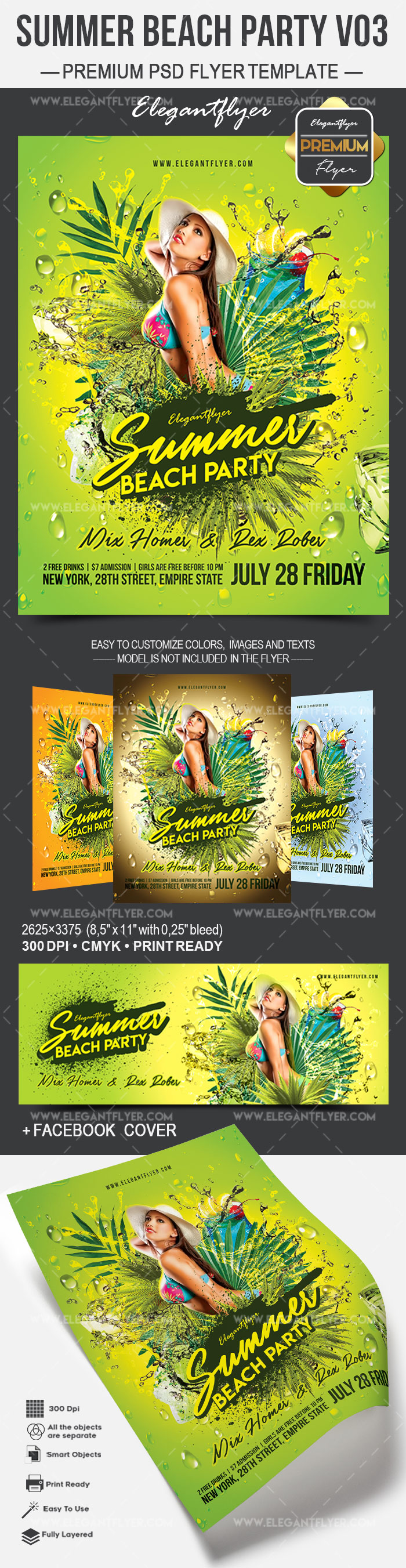 Summer Beach Party V03 – Flyer PSD Template + Facebook Cover
