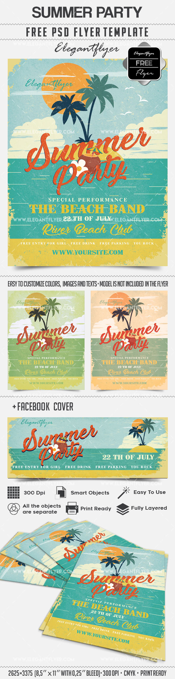 Summer Party- Free Flyer PSD Template