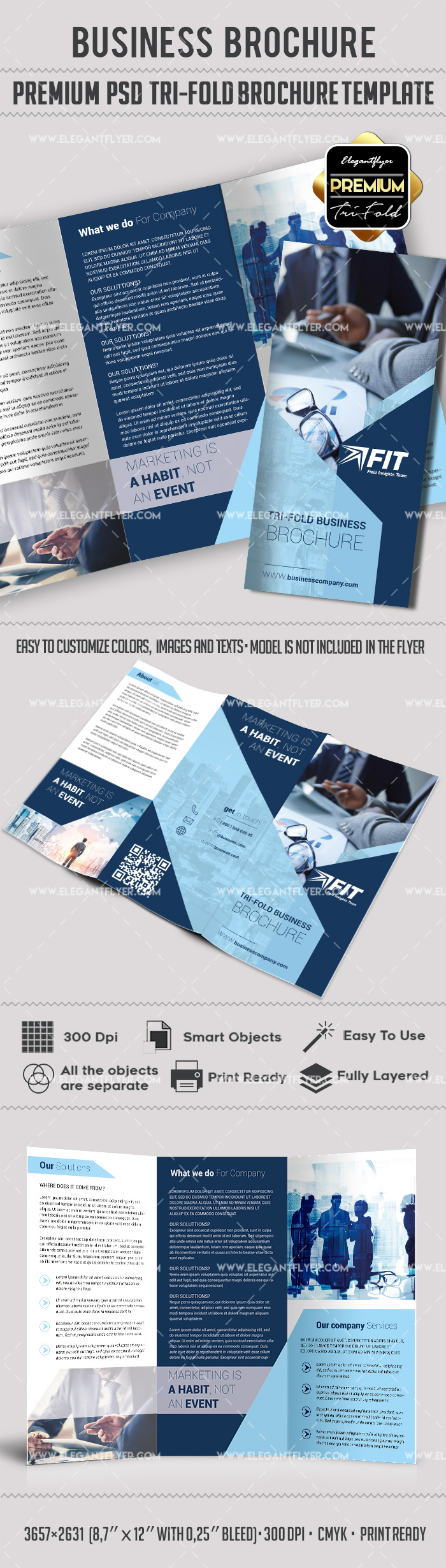 Photoshop brochure template by elegantflyer for Tri fold brochure psd template