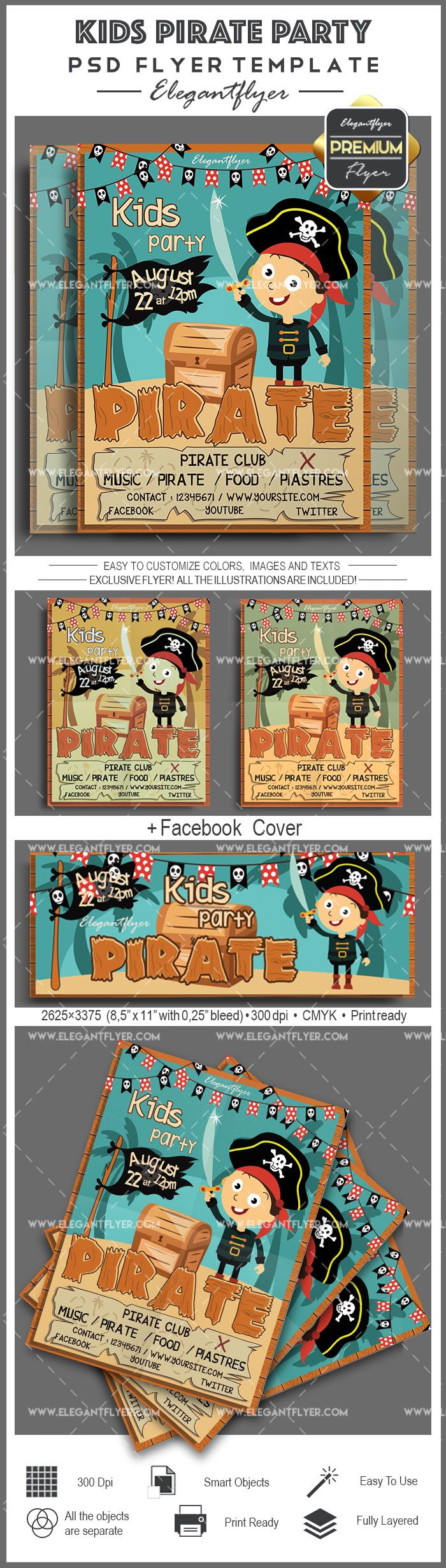 Kids Pirate Party – Flyer PSD Template