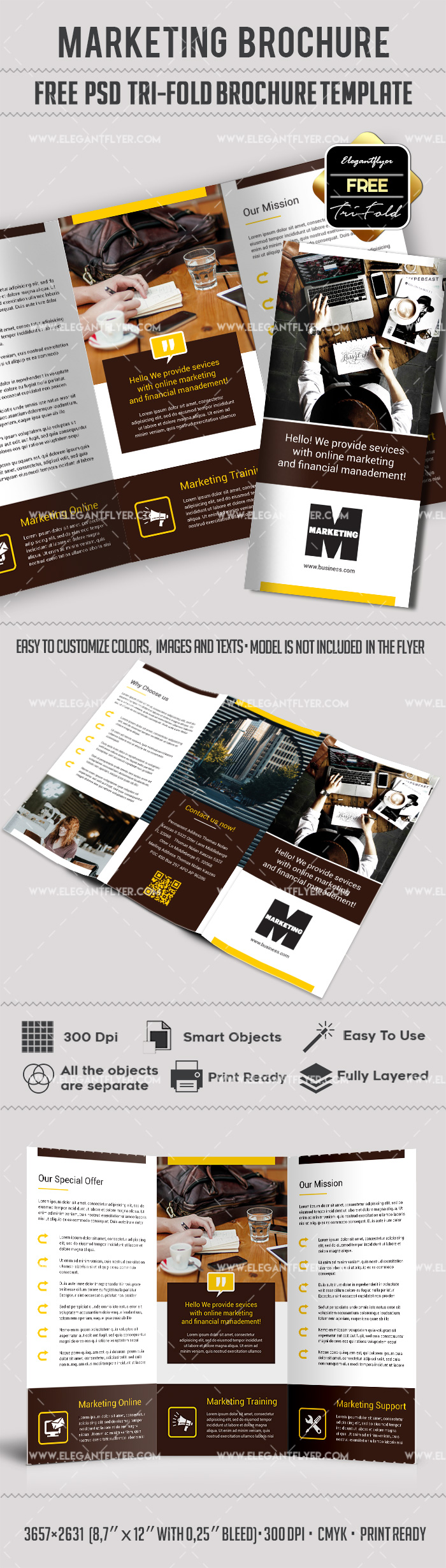 marketing free tri fold psd brochure template by elegantflyer. Black Bedroom Furniture Sets. Home Design Ideas