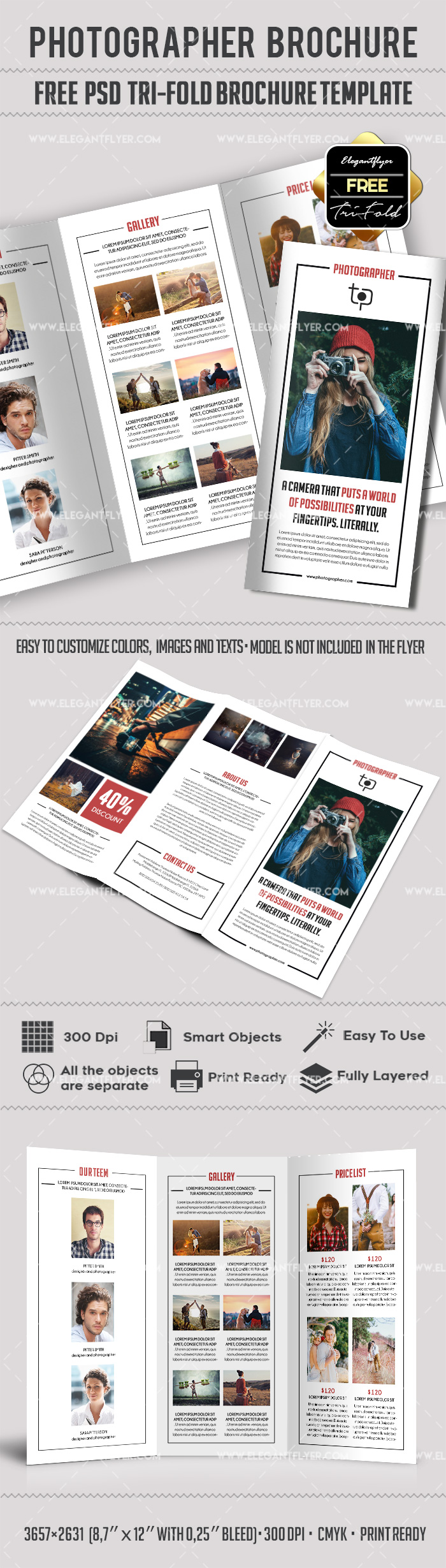 Free Photographer Brochure Tri-Fold for Printing