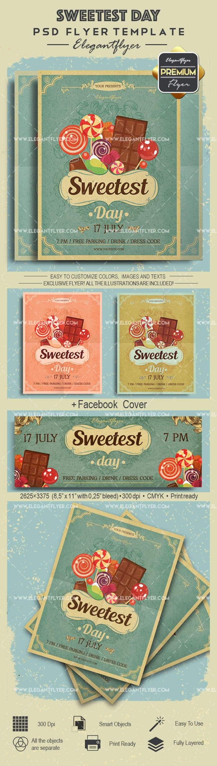 Sweetest Day- Flyer PSD Template