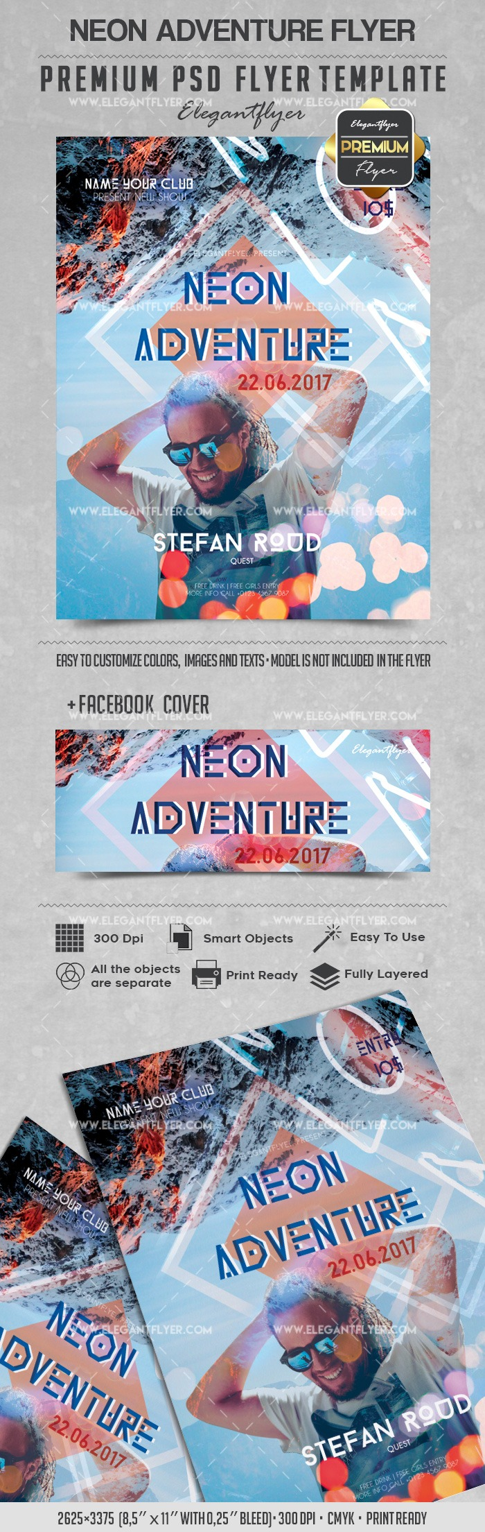 Neon Adventure – Flyer PSD Template