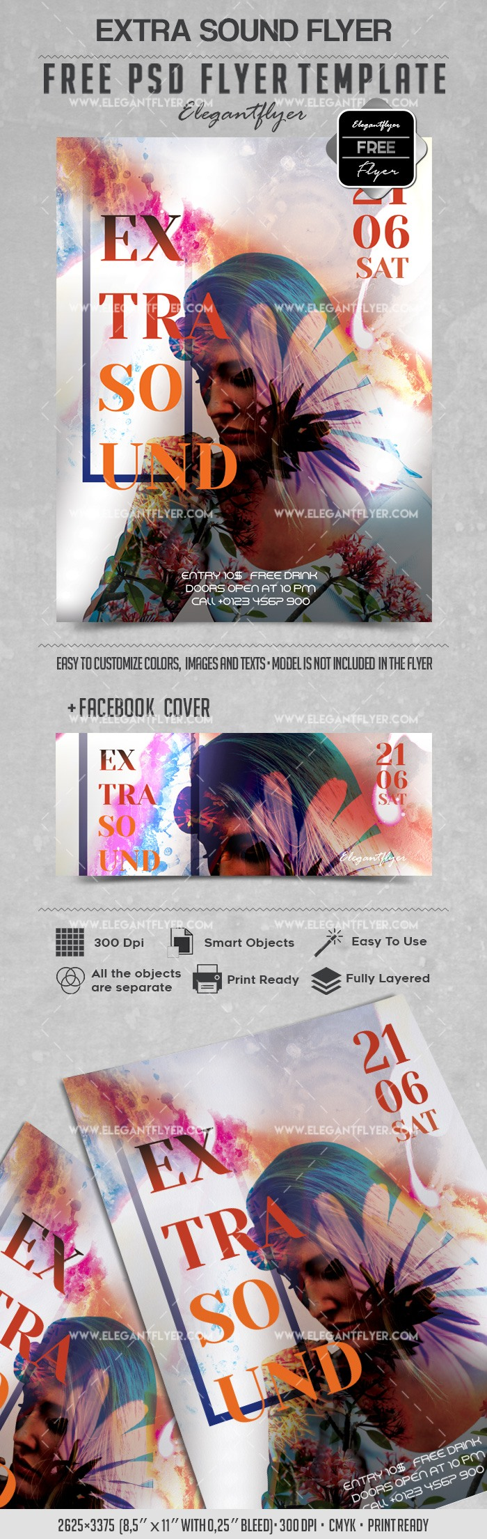 Extra Sound – Free Flyer PSD Template
