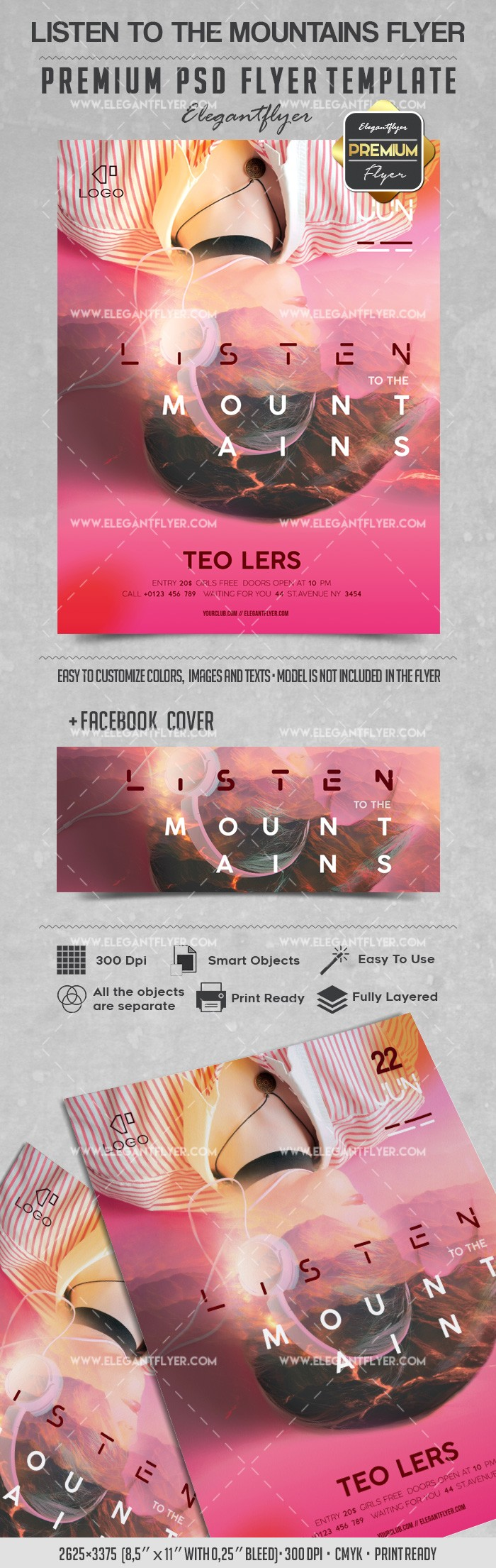 Listen to the Mountains – Flyer PSD Template
