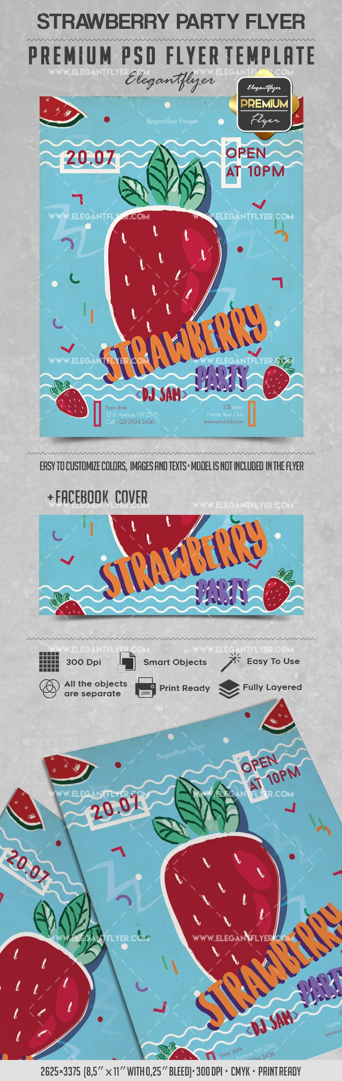 Strawberry Party – Flyer PSD Template