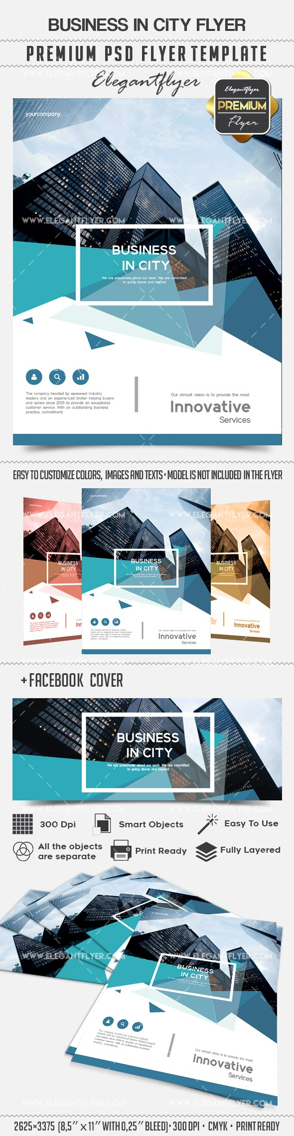 Business in city – Flyer PSD Template