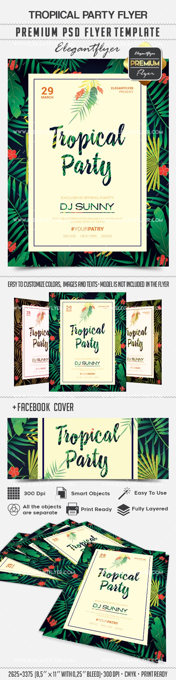 Tropical Theme for Party PSD Template