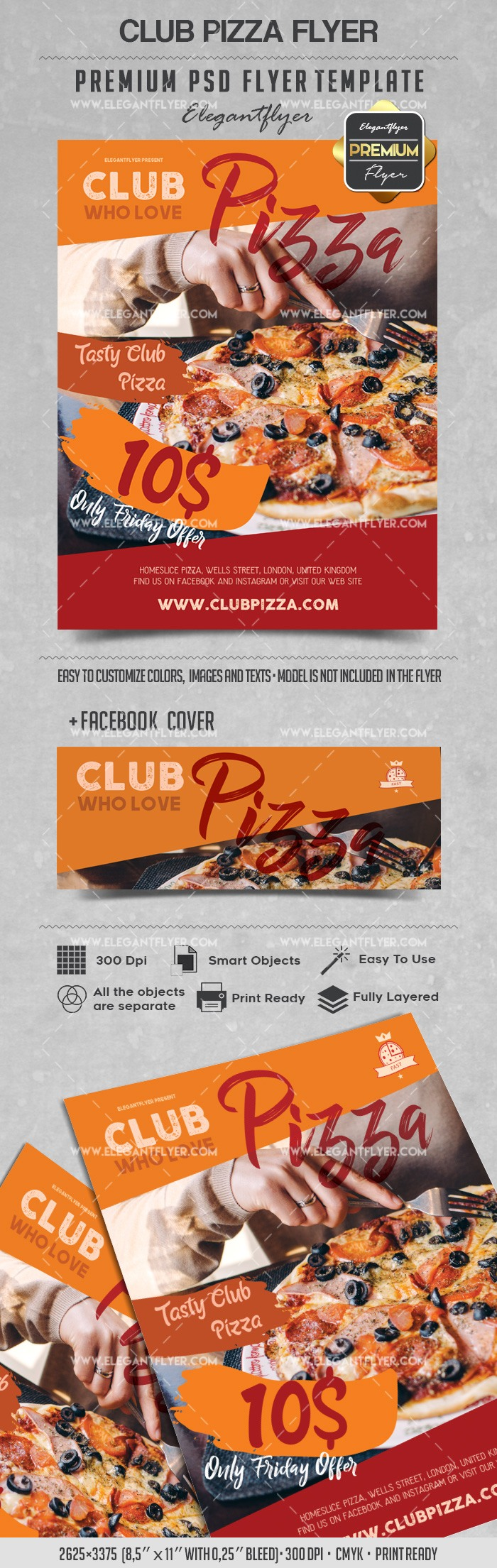 club pizza flyer psd template by elegantflyer. Black Bedroom Furniture Sets. Home Design Ideas