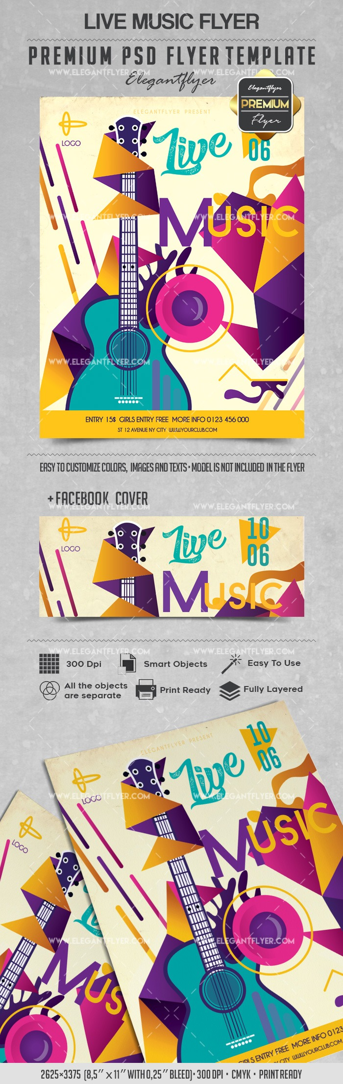 Abstract Live Music Flyer Template