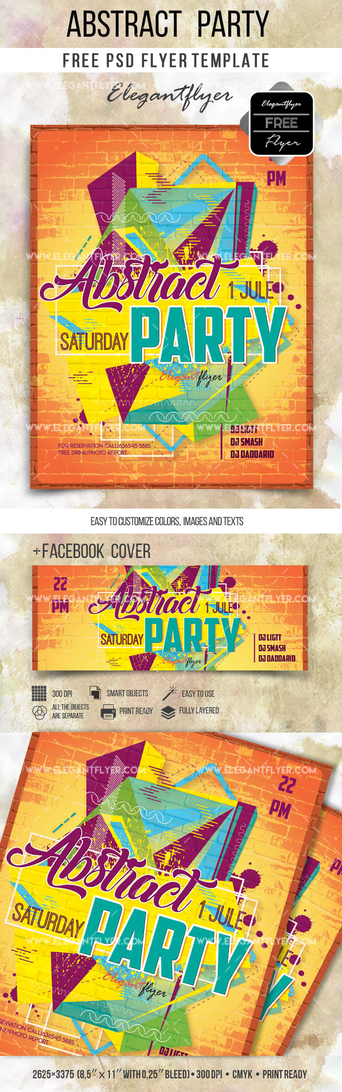 Abstract Party – Free Flyer PSD Template