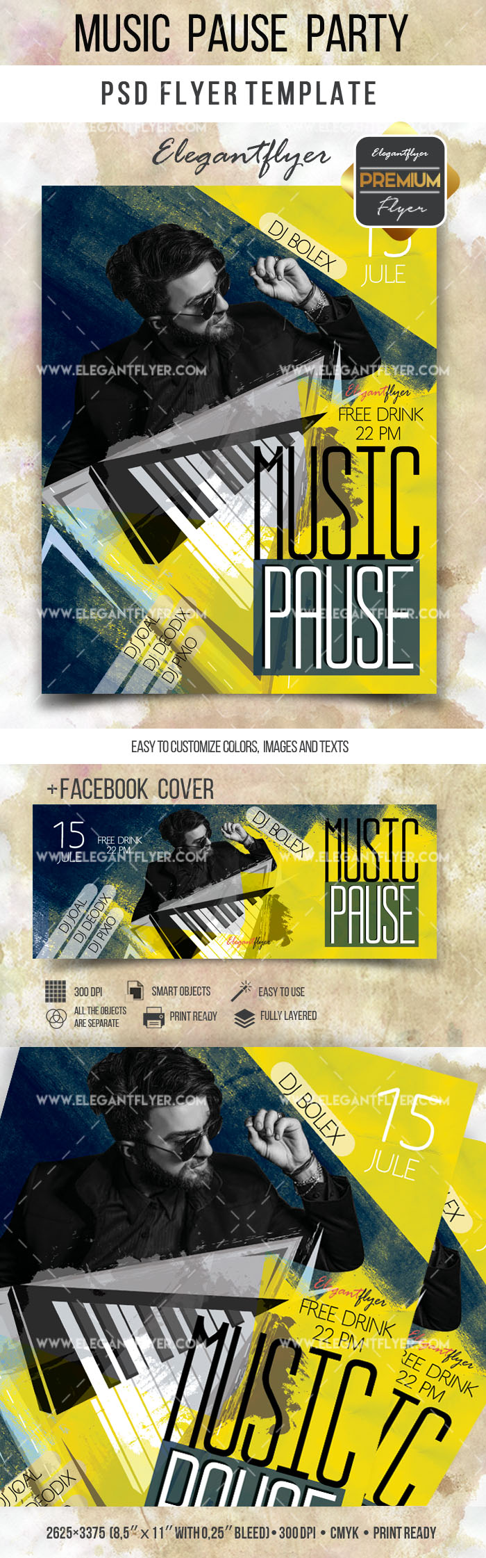 Music Pause Party – Flyer PSD Template