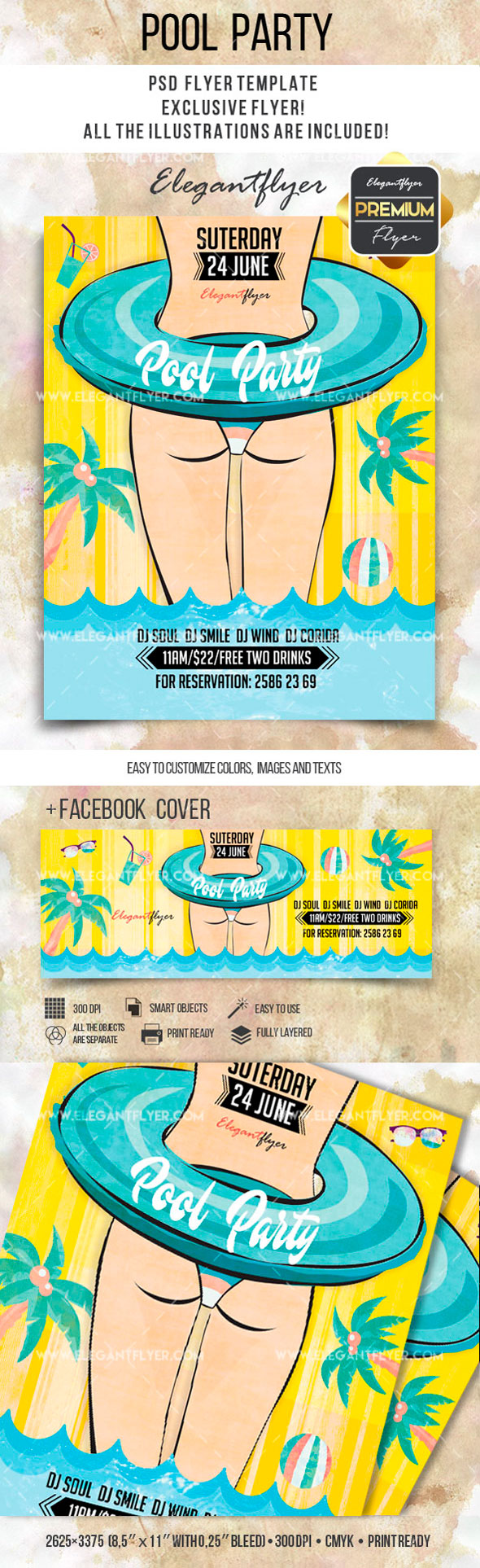 Summer Pool Party U2013 Flyer PSD Template + Facebook Cover