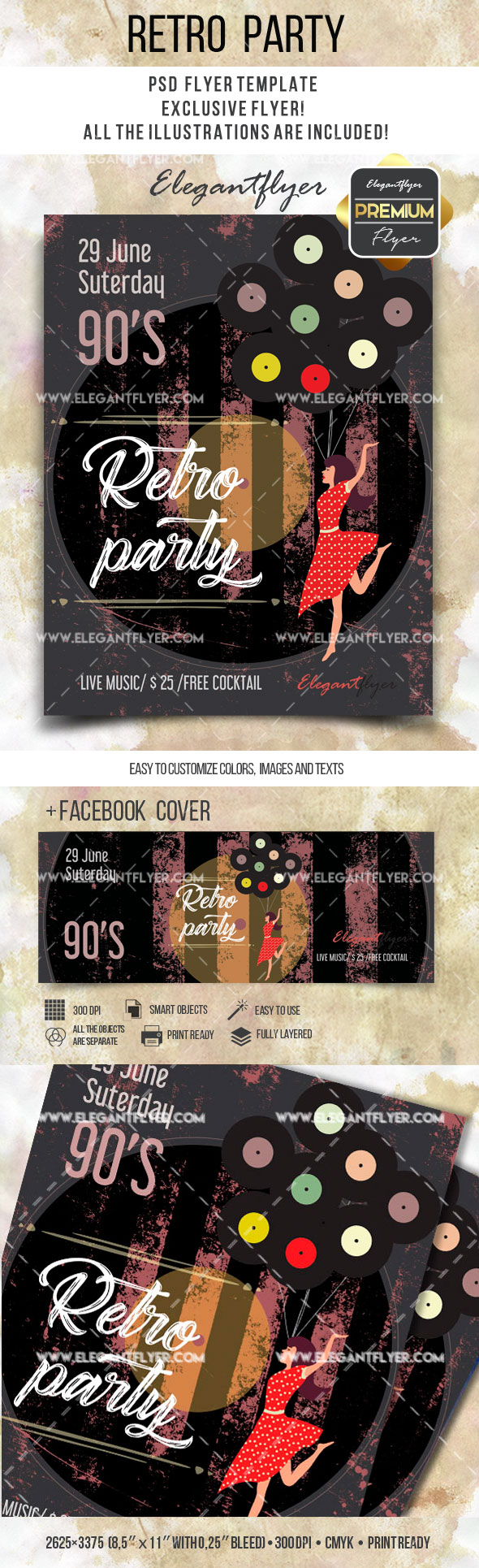 Retro Party – Flyer PSD Template