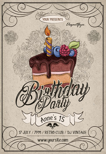 Elephant Themed Birthday Party PSD Template
