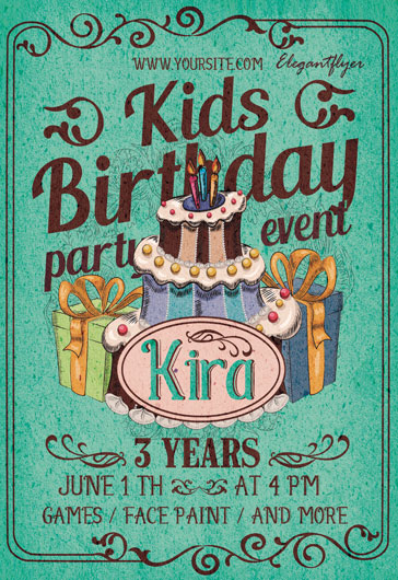 Kids Birthday Party- Flyer PSD Template