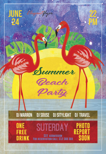 Flyer Pool Party Summer