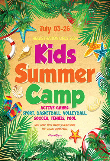 Kids Summer Camp V03 – Flyer Psd Template + Facebook Cover – By